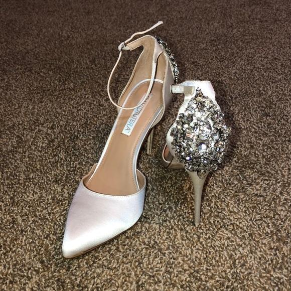 Satin Wedding Bridal Heels W Jewel